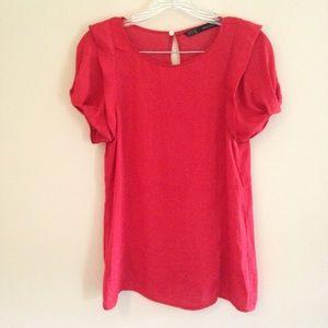 Zara Red Puffed Sleeve Blouse
